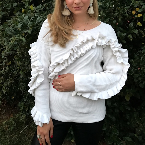 French Connection Sweaters - White Ruffle Sweater